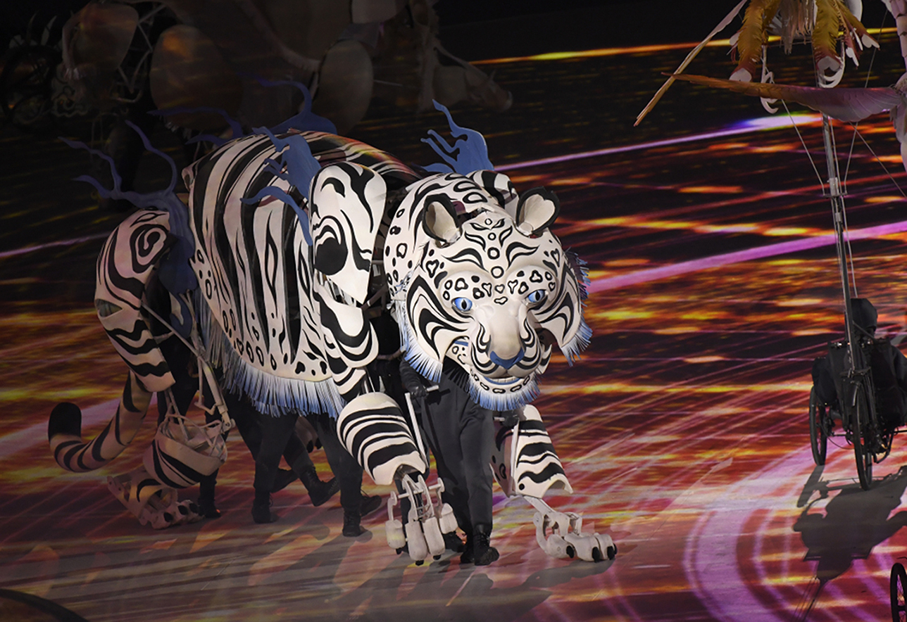 PyeongChang, Gangwon - February 9: White Tiger performed by dancers celebrate the Opening Ceremony of the PyeongChang 2018 Winter Olympic Games at PyeongChang Olympic Stadium. February 9, 2018. (Photo by Hyoung Chang/The Denver Post via Getty Images)